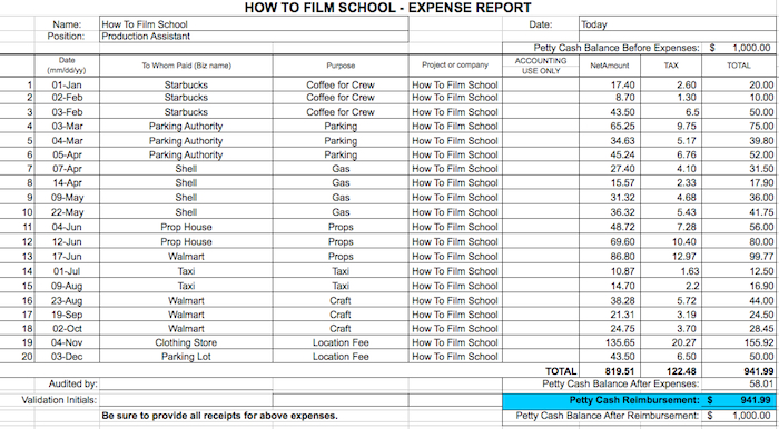 Free Expense Report howtofilmschool – Expense Report