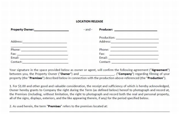 Free Location Release Sample howtofilmschool – Location Release Form