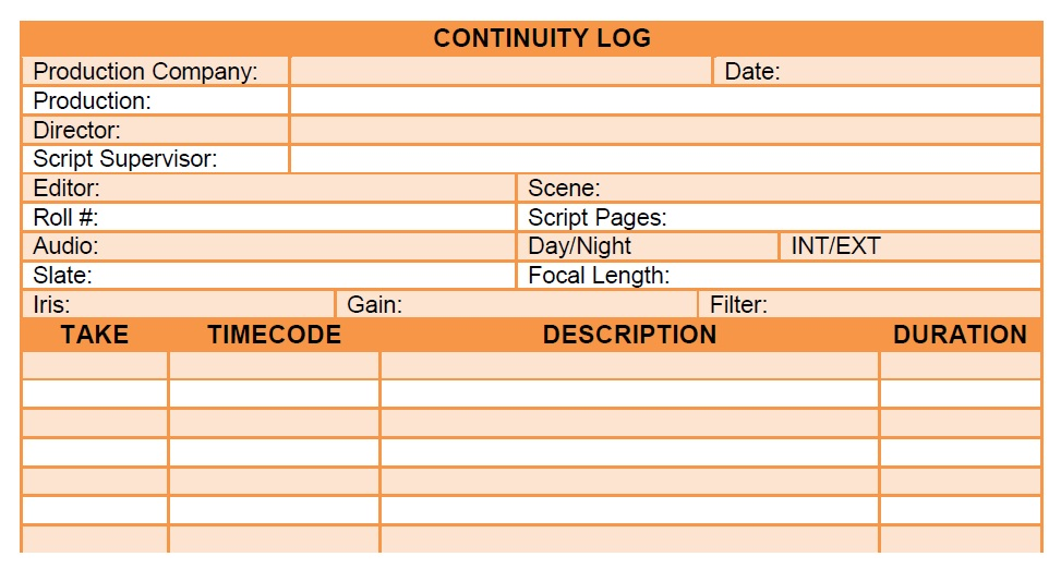 Continuity log added free stuff download free continuity for Script supervisor notes template